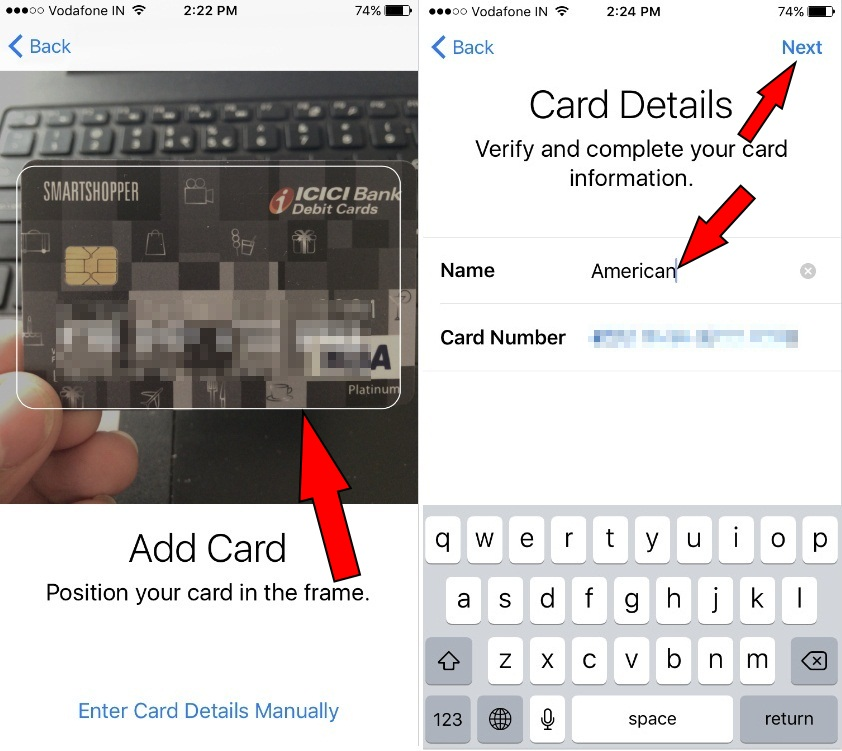 Tap on Wallet & Apple Pay to enter credit or debit card iOS 10