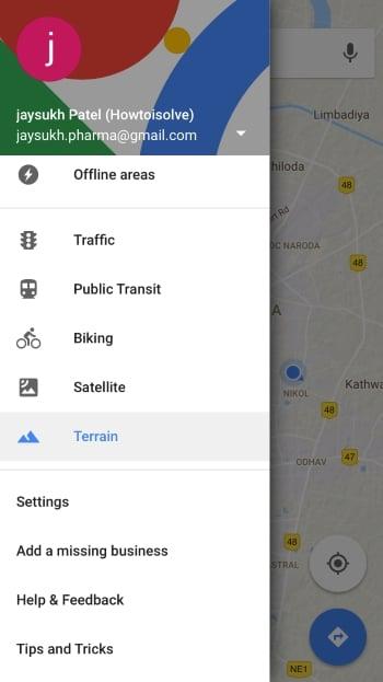 Google Map settings on iPhone and iPad