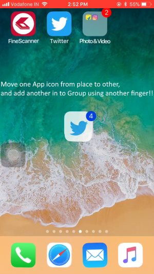 2 Create a Group of other app icon on home screen and move in to folder on iPhone