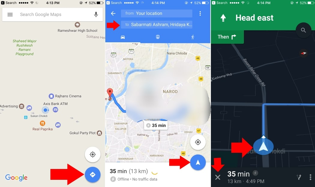 Find Location and Get Direction on google map