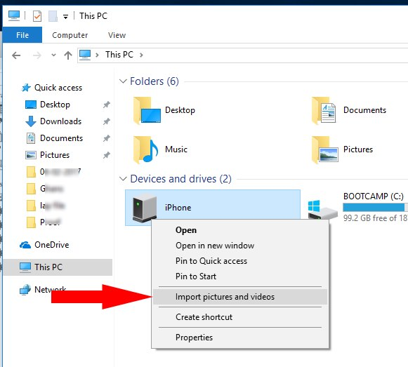 Import photo and video from iPhone to windows 10