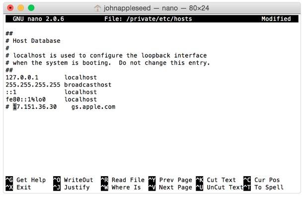 Change host file on Mac to fix iTunes error 17