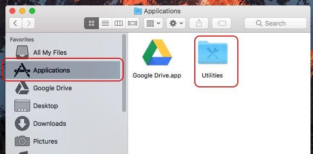 Find Utilities folder on Mac under Application