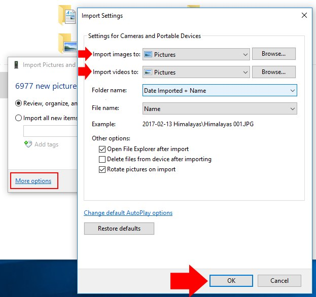 Import settings for windows before start import from iPhone