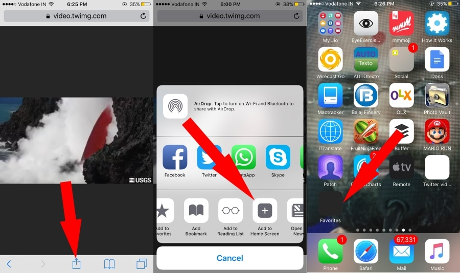 Bookmark Twitter video on iOS home screen: Download Twitter video on iPhone
