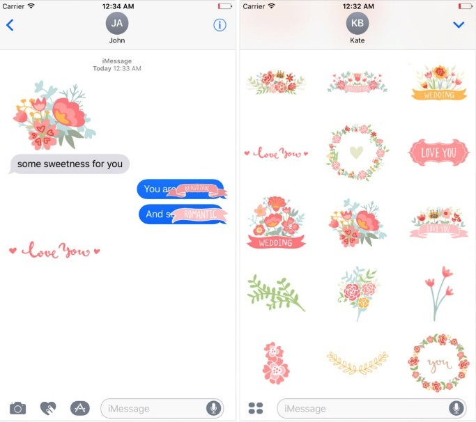 A Very Romantic Sticker App for iMessage iPhone iOS 10