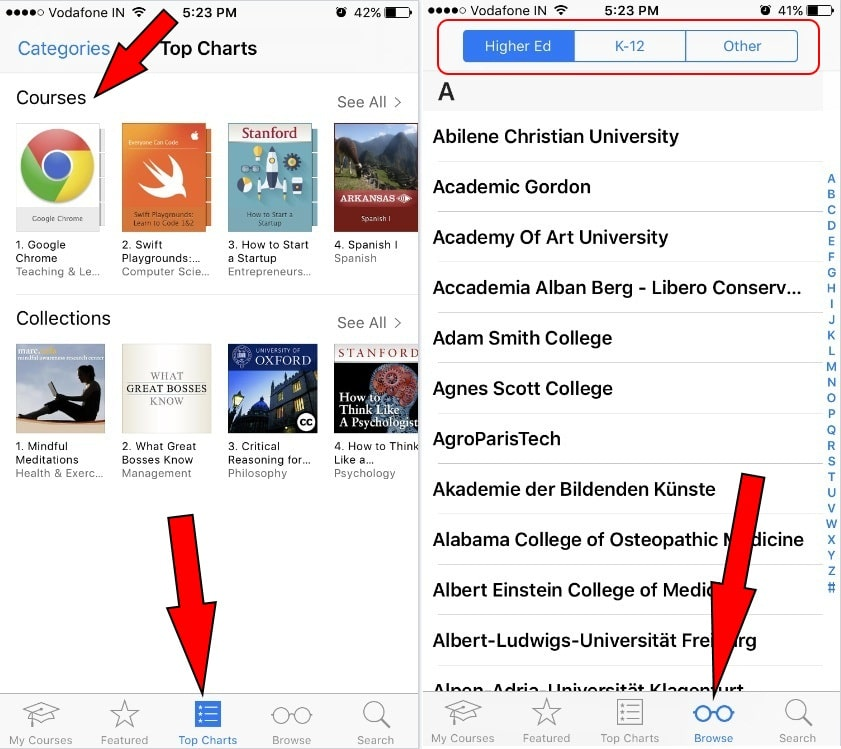 school or University course Online on iPhone 7 Plus iOS 10