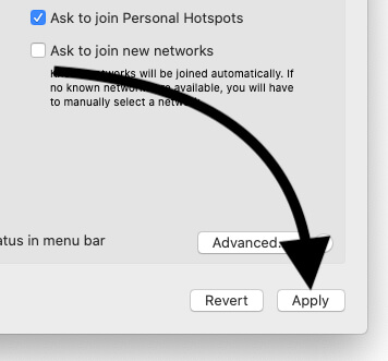 Apply Changes for Network settings on Macbook Mac
