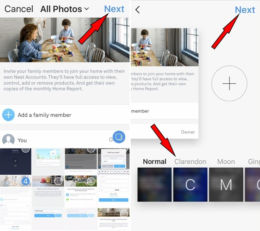 The iOS Instagram app version 10.9 multiple photo shareing
