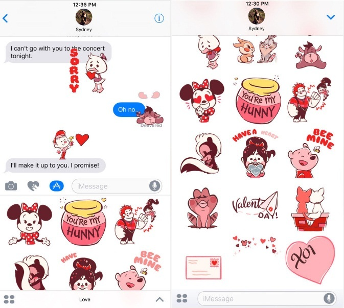 Disney Stickers Love iMessage App for iPhone