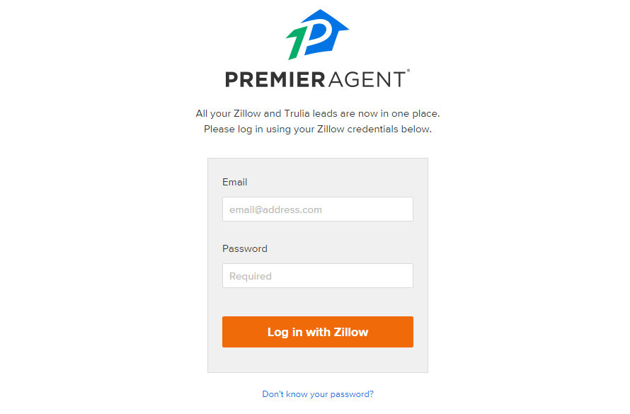 Zillow login information on iPhone app