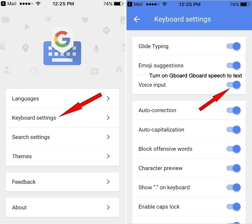 Enable/ Turn on Gboard Gboard speech to text (Voice typing) on iOS keyboard iPhone