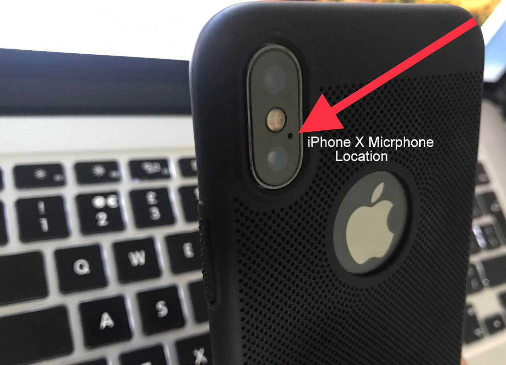 iPhone X rear Microphone location