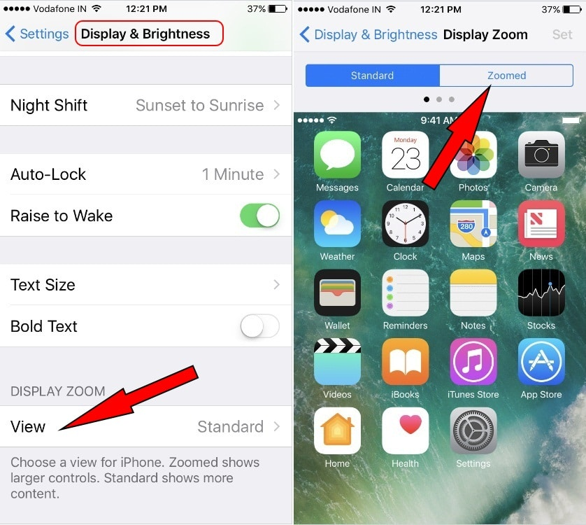 Tap on view and tap on zoomed on iPhone 7 Plus settings app iOS 10 Make icons bigger on iPhone 7 Plus