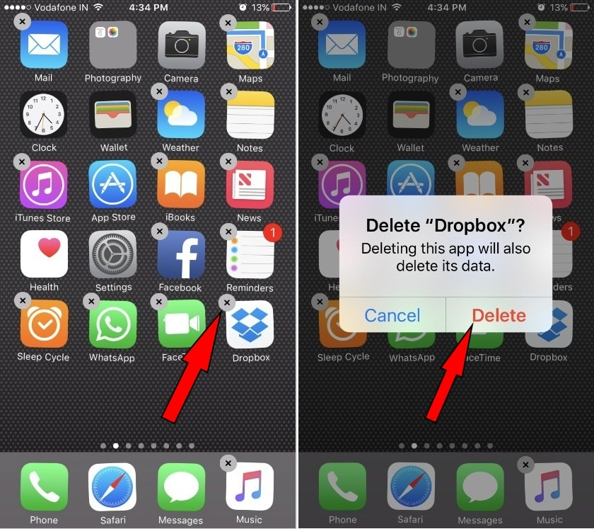 Delete DropBox App and Install back oon iPhone