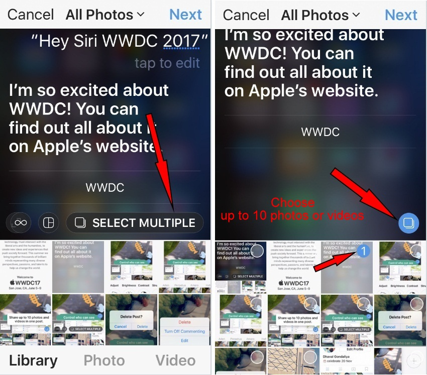 make a slideshow of Up to 10 photos and videos in one post instagram iOS 10 iPhone 5s 5c
