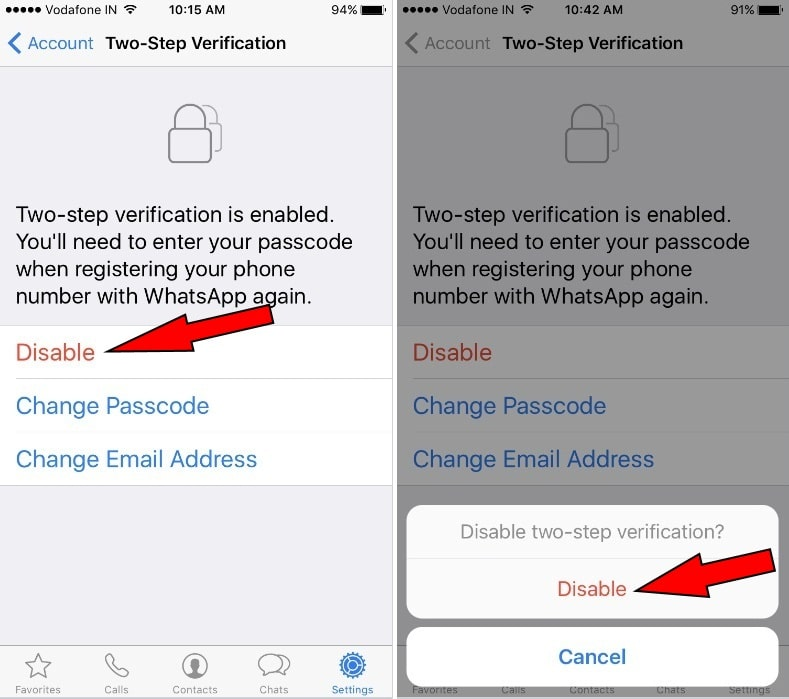 on Two-Step Verification Whatsapp in iPhone 7 - 7 Plus