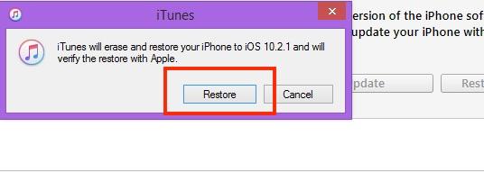 2 Start restore in iPhone