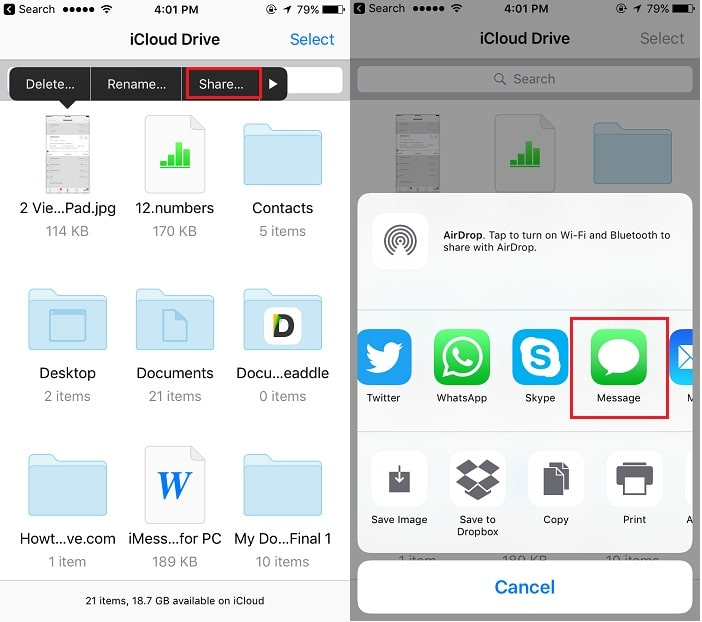 3 Share or send file from iCloud drive iPhone app to Mac via iMessage app