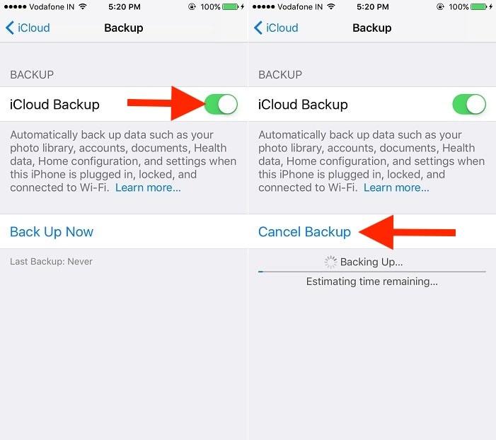 3 start backup on iphone