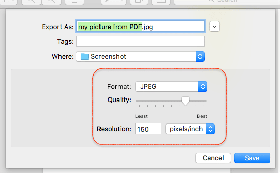 Choose file format and quality name then save