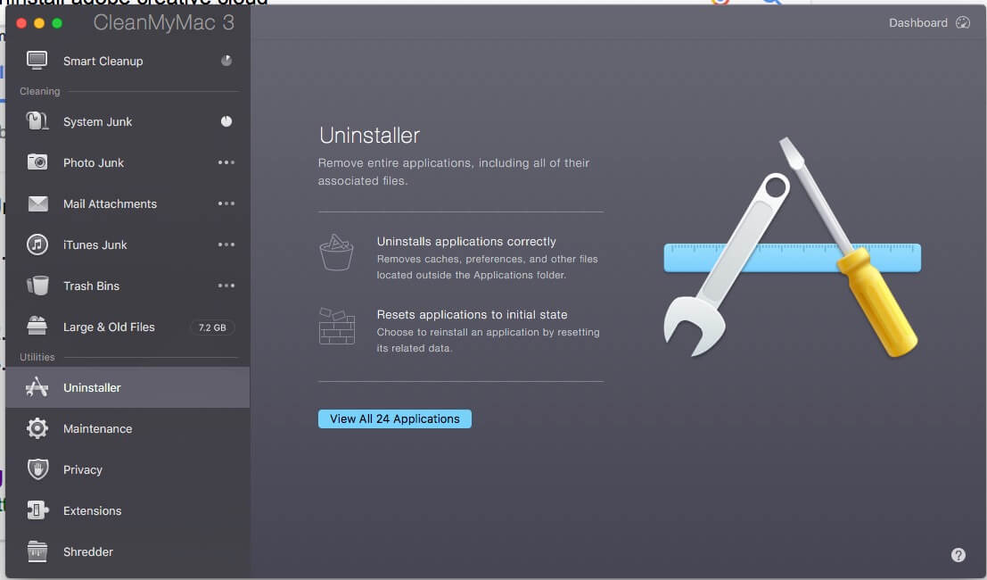 Auo apps Uninstaller in Clean My Mac 3