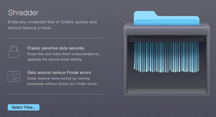 Shredder option for erase all file or folder