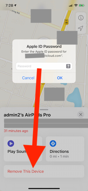 Forgot AirPods pro from Find My iPhone app