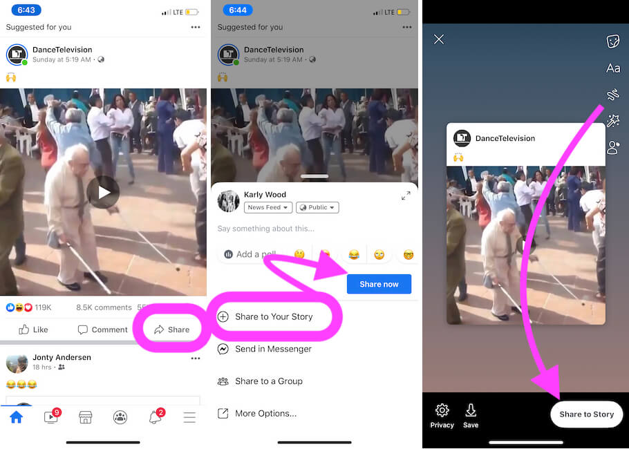 Re share post on your Facebook story from iPhone Facebook app