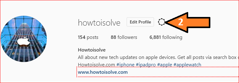 click on gear icon on settings on Instagram web