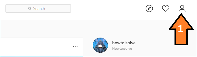 click on user icon on Instagram web