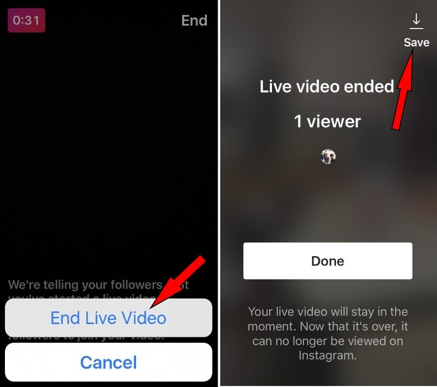 End live video on Instagram and tap on Save