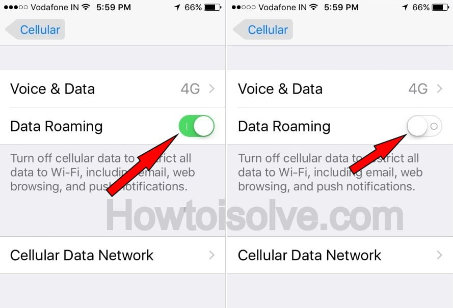 disable data roming screen on iPhone 7Plus iOS 10
