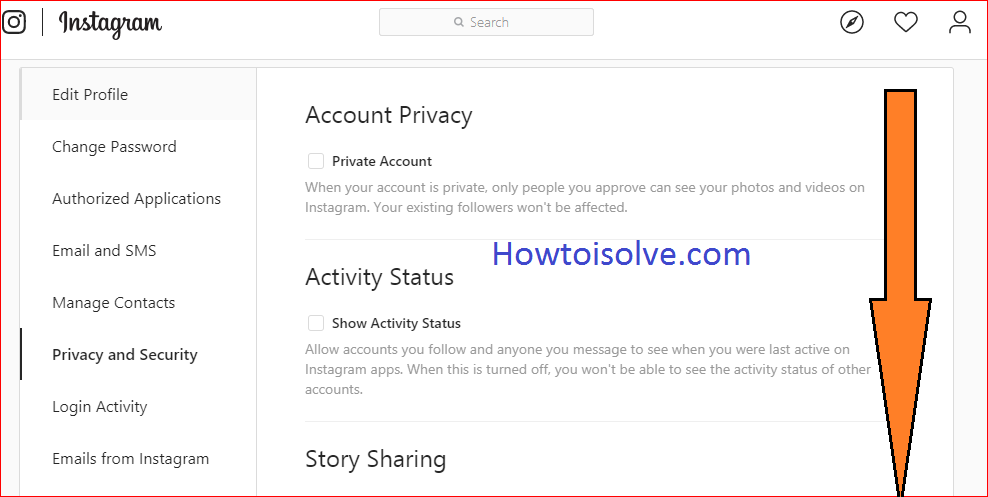 scroll down the screen to get two factor authentication on Instagram on PC computer web mac