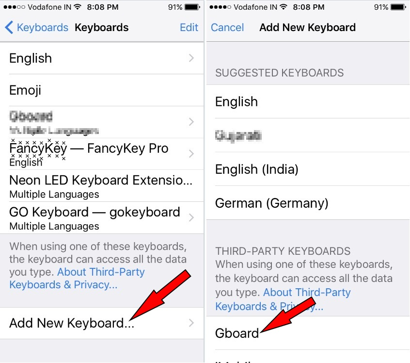 Download and install new Keyboard on your iPhone