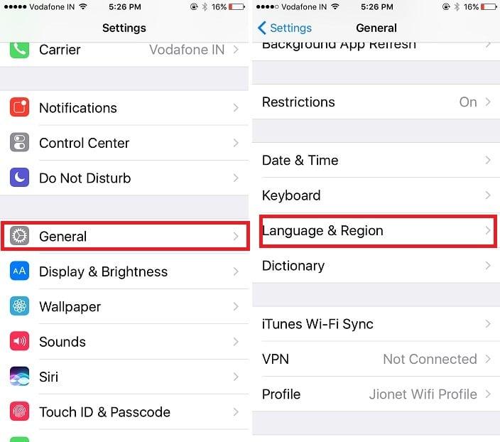 1 iPhone language and region settings