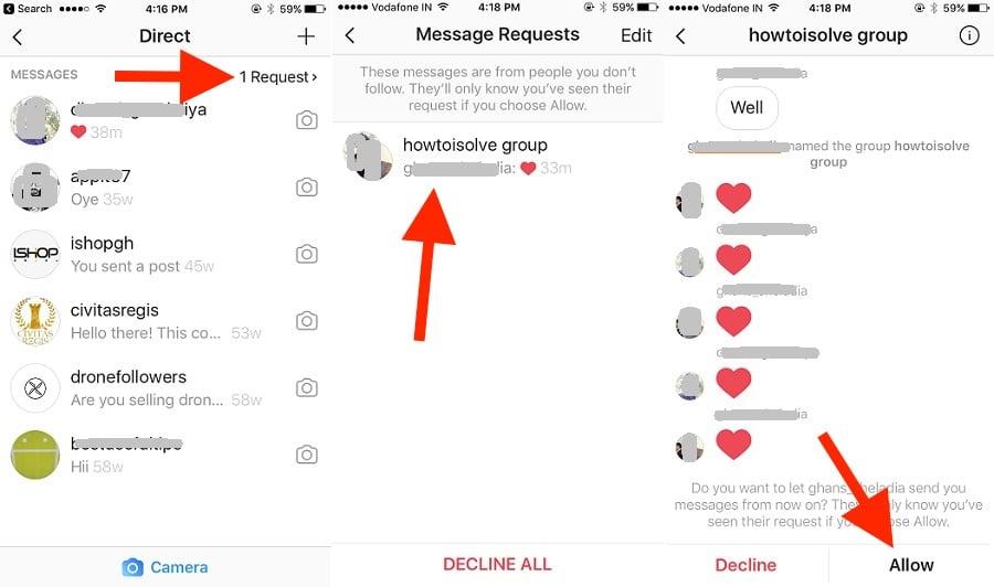 2 Accept Request in instagram Message