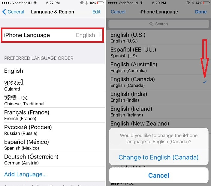 2 Filter different language on iPhone