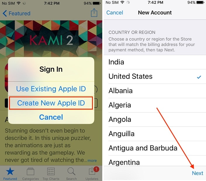 2 Start sign up for create new apple ID