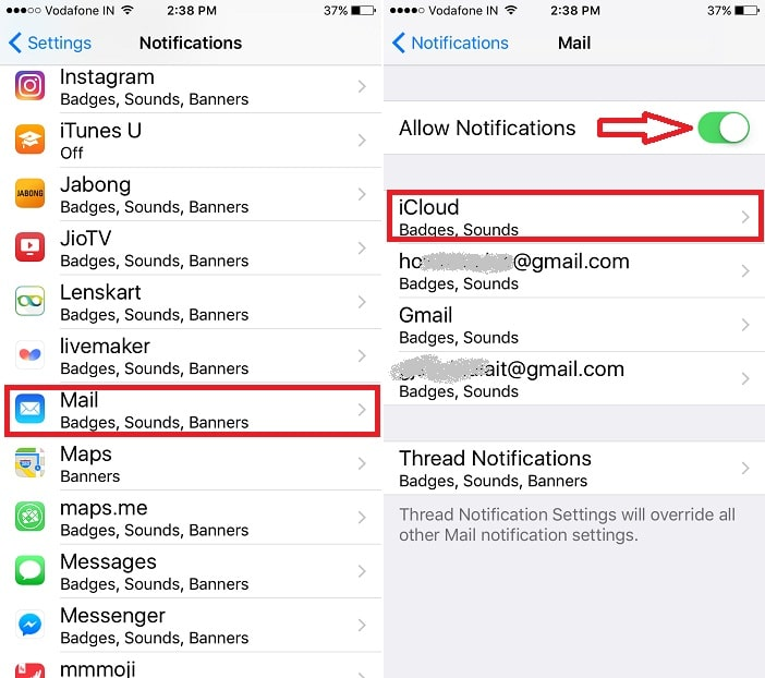 3 Mail app account notification settings for sounds