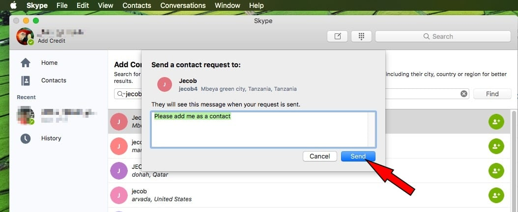 3 Search new contact with name and add in list