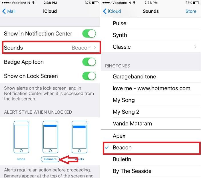 4 Change Mail app sound use other alert