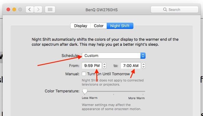 4 Custom settings for night shift mode on Mac