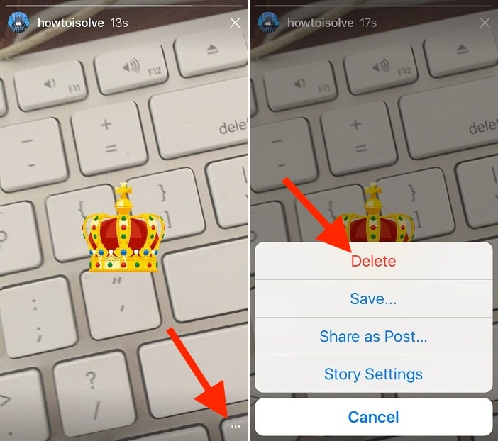 4 Delete Story in instagram iOS app