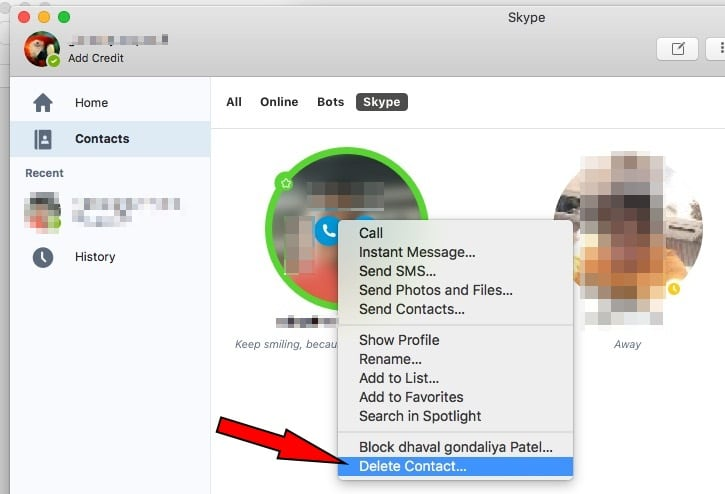 4 Delete or Block Skype contacts on Mac