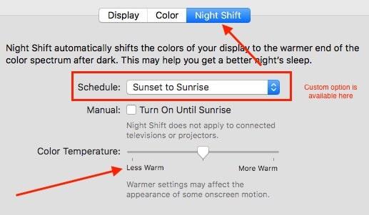5 Night shift option for MacOS Sierra