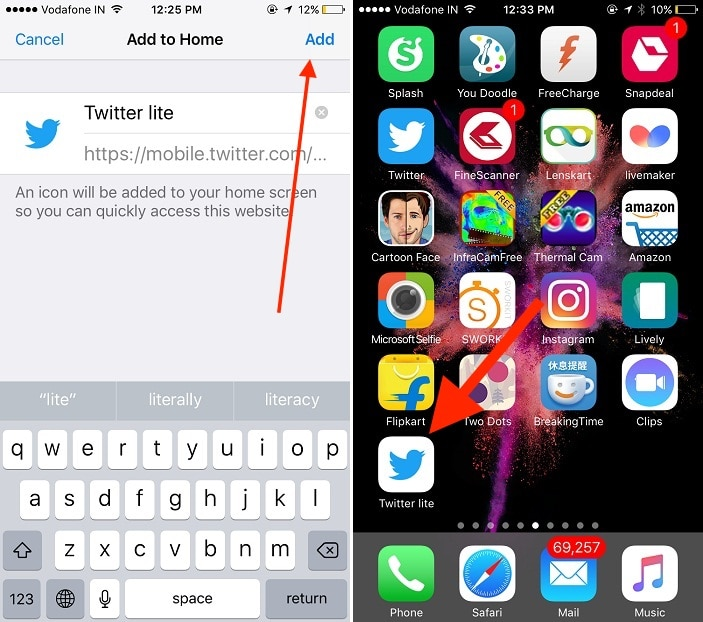 5 add Twitter like on home iPhone iPad screen