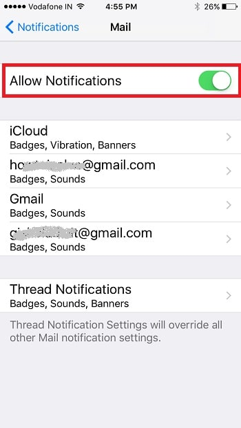 6 Allow notifications from mail app on iPhone