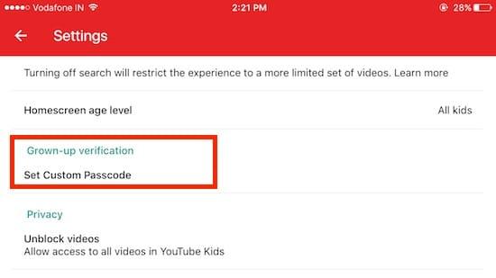 7 Set or Change passcode in YouTube kids app