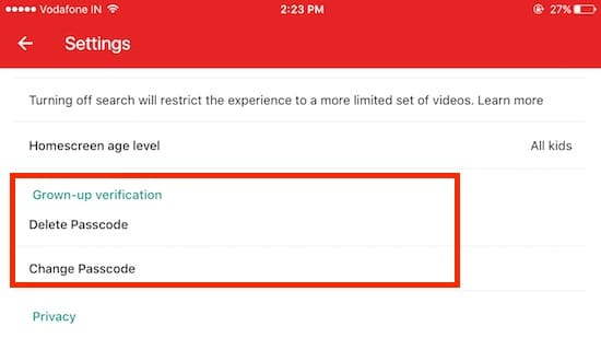 9 Manage Passcode in YouTube kids iOS app